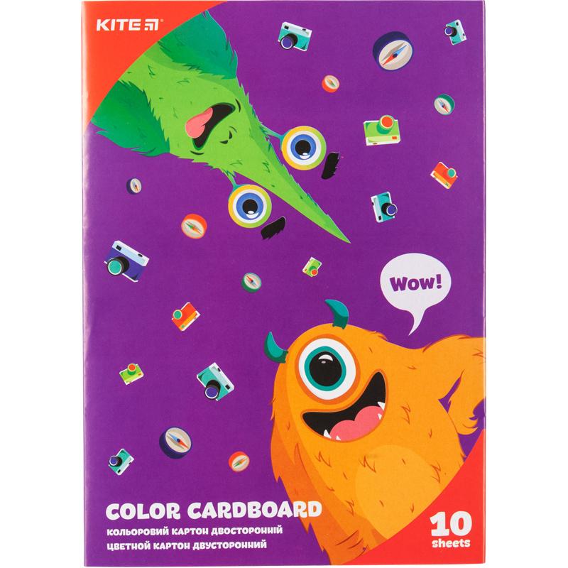 Картон цветной двусторонний Kite Jolliers А5, 10 листов, 10 цветов