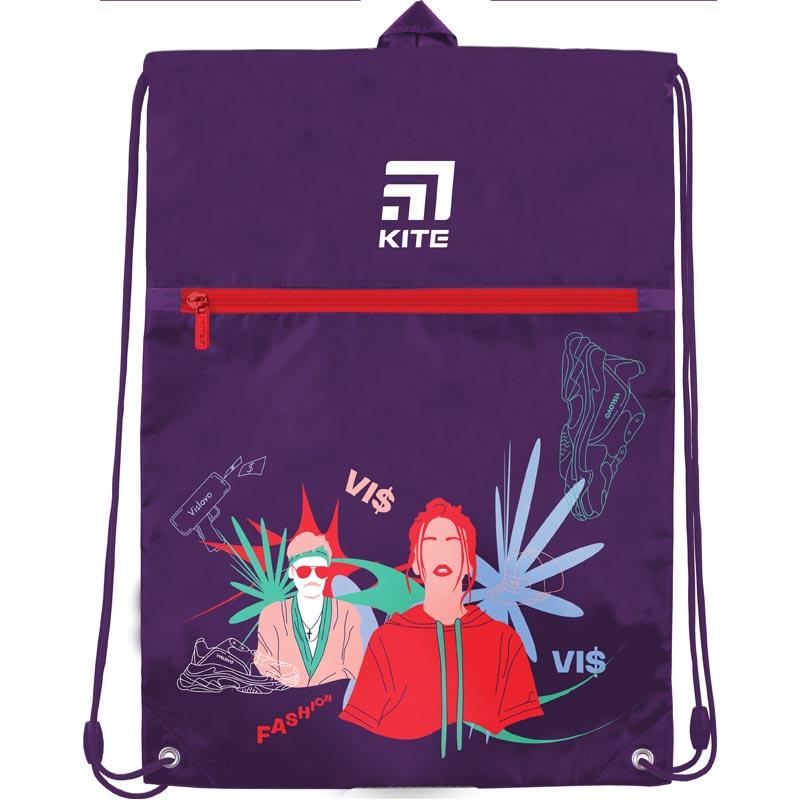 Сумка для обуви с карманом KITE Education 601L-1 VIS, сиреневая - №1