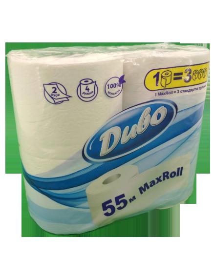 Бумага туалетная целлюлознаяДиво Max Roll, 2 слоя, 4 рулона, белая
