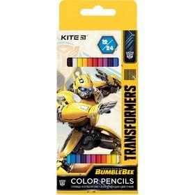 Карандаши цветные двухсторонние KITE Transformers, 24 цвета
