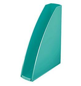 Лоток для бумаг вертикальный Leitz WOW пластиковый, бирюзовый металлик