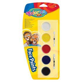 Краски для лица Colorino с кистьями, 5  цветов