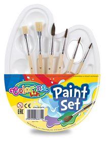Палитра для рисования + 6 кисточек Colorino на 10 ячеек, белая
