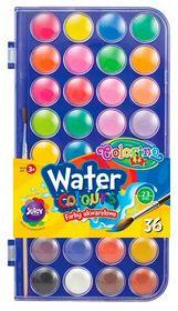 Краски акварельные Colorino с кистью, 36 цветов