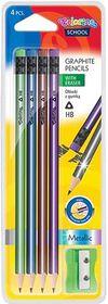 Набор карандашей графитных с резинкой + точилка Colorino Металлик, HB, 4 шт