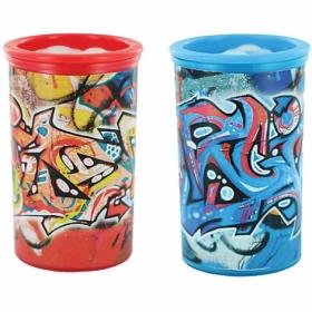 """Точилка KUM """"Graffiti"""" с контейнером, 2 отверстия, ассорти"""