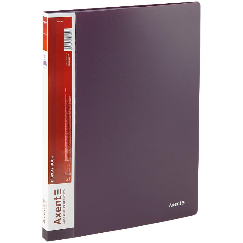 Дисплей-книга с 20 файлами Axent А4, сливовая