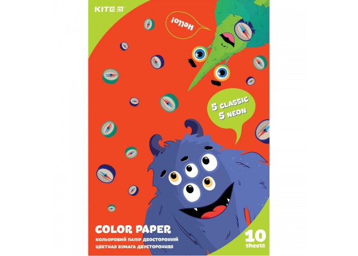Бумага цветная двухсторонняя КІТЕ Jolliers А4, 10 листов, 10 цветов