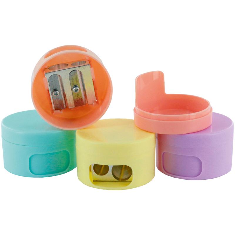 Точилка KUM Pastell с контейнером, 2 отверстия, ассорти