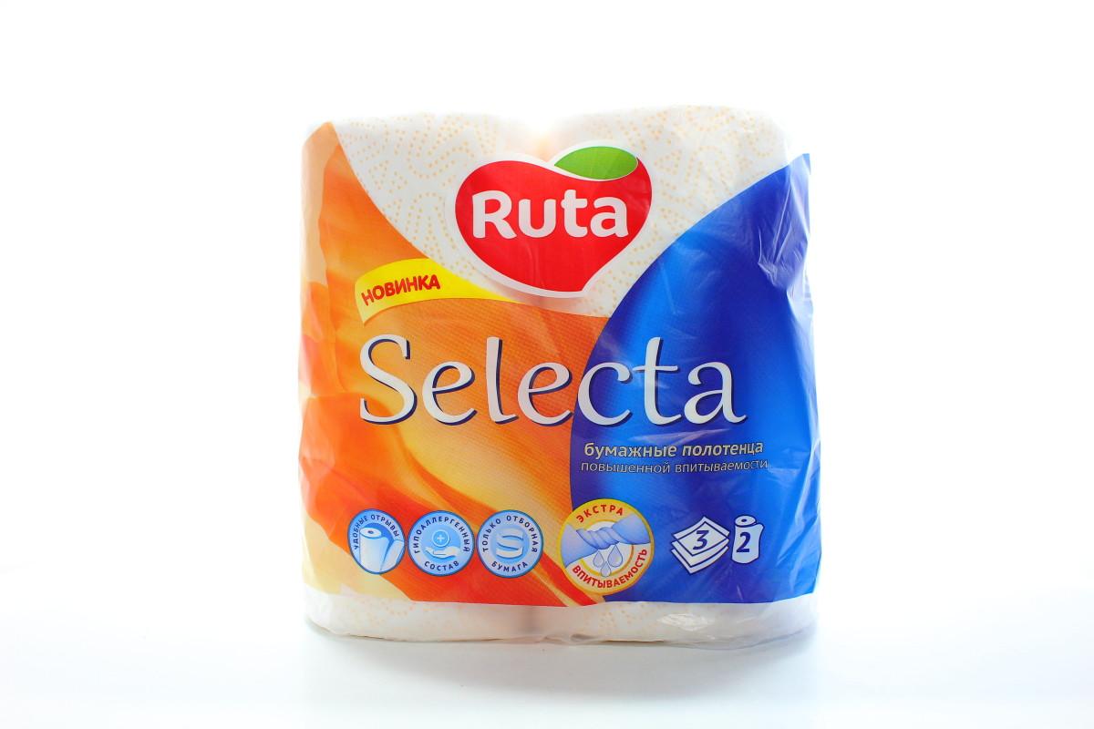 """Полотенца целлюлозные Ruta """"Selecta"""", 3 слоя, 2  рулона,  белые"""