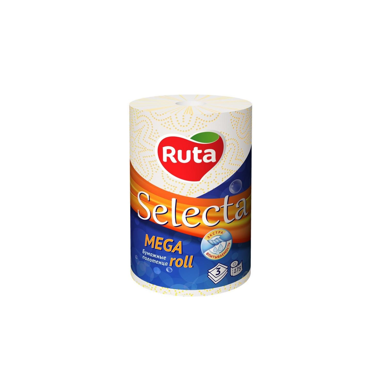 """Полотенца целлюлозные Ruta """"Selecta Mega roll"""",  3 слоя, 1 рулон,  белые"""