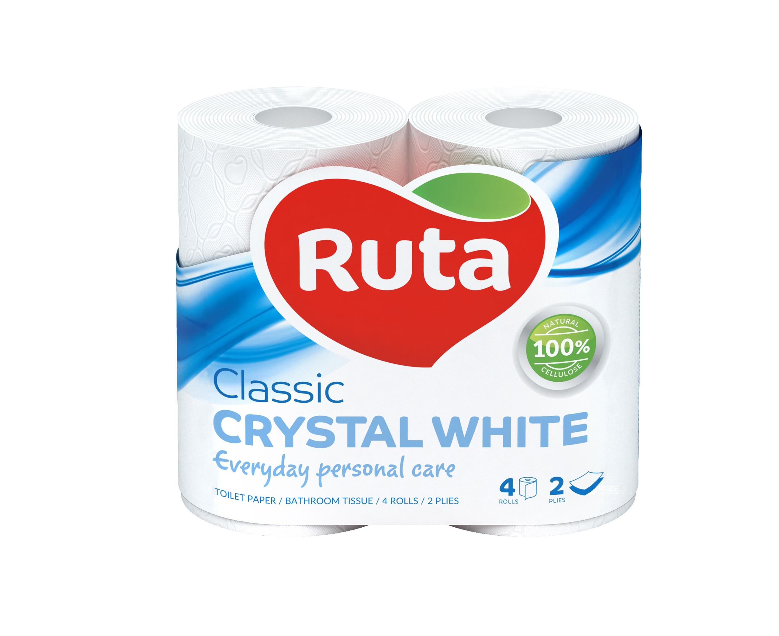 "Бумага туалетная целлюлозная Ruta ""Classic"", 2 слоя, 4 рулона, белая"