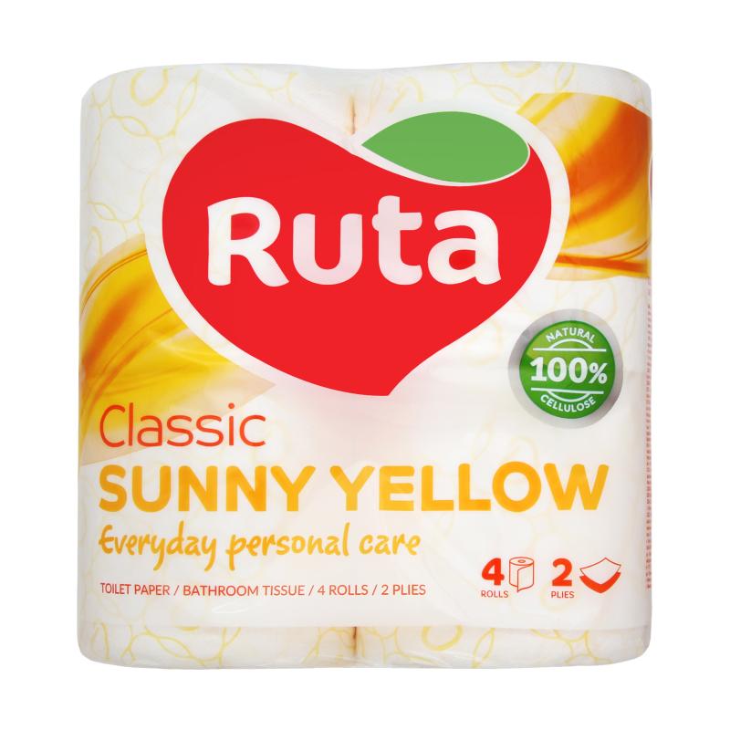 """Бумага туалетная целлюлозная Ruta """"Classic"""", 2 слоя, 4 рулона, желтая"""