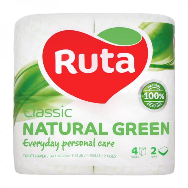 "Бумага туалетная целлюлозная Ruta ""Classic"", 2 слоя, 4 рулона, зеленая"