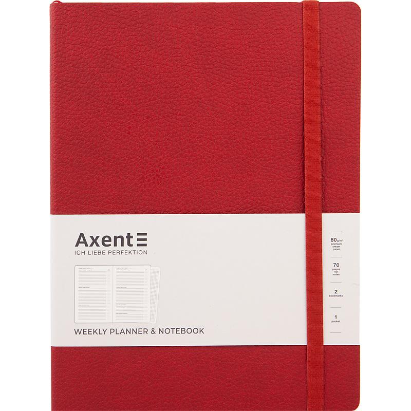 Еженедельникнедатированный Axent Partner Soft L 25х19 см, красный