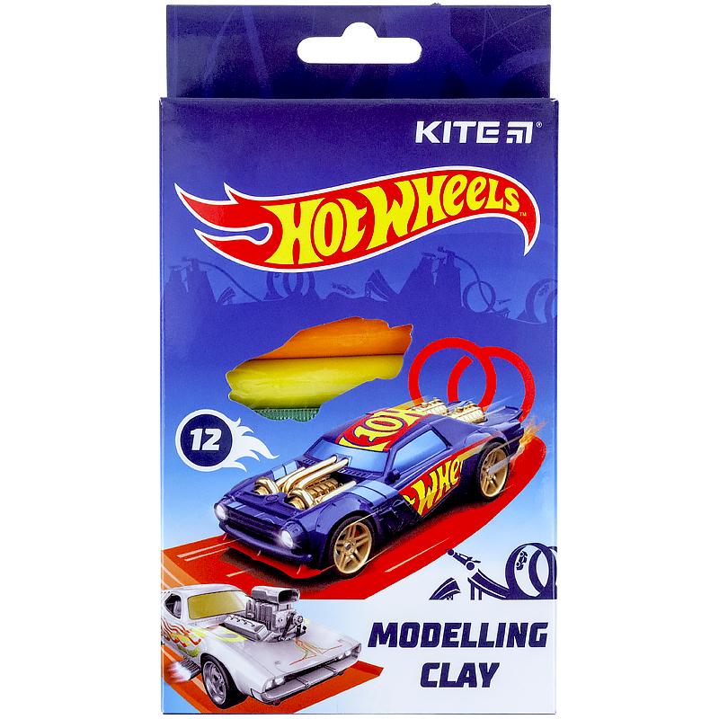 Пластилин восковой KITE Hot Wheels,12 цветов, 200 г