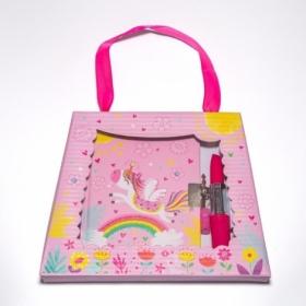 """Блокнот детский """"Единорог на радуге"""" в подарочной сумочке с ручкой-помадой 150x110 мм, 56 листов, 70"""
