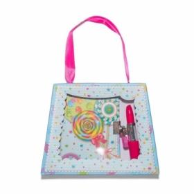 """Блокнот детский """"Леденцы"""" в подарочной сумочке с ручкой-помадой 150x110 мм, 56 листов, 70 г/м2, лини"""