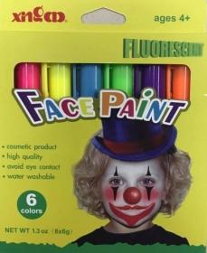 Карандаши для лица флуоресцентные, 6 цветов по 6 г