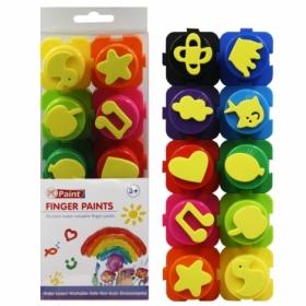 Краски пальчиковые со штампом, 10 цветов 20г, ассорти