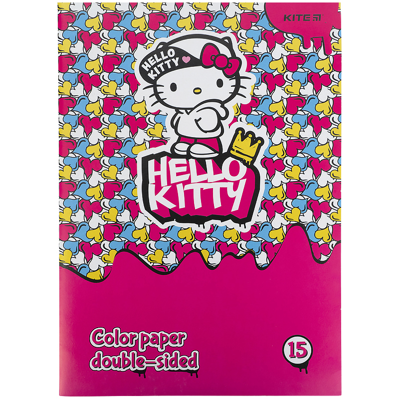 Бумага цветная двухсторонняя КІТЕ Hello Kitty А4, 15 листов, 15 цветов
