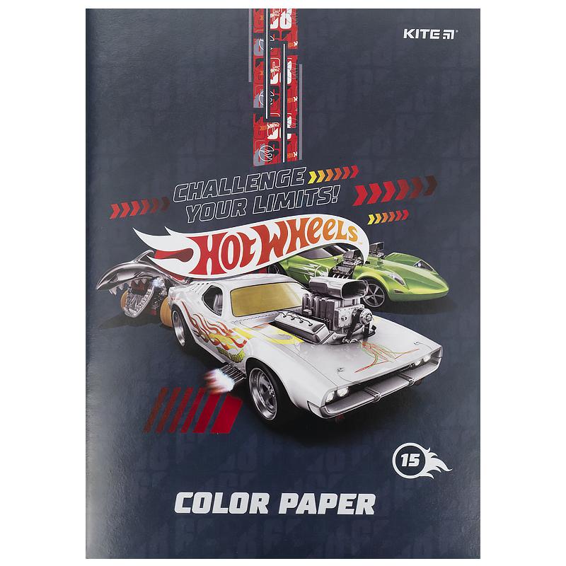 Бумага цветная двухсторонняя КІТЕ Hot Wheels А4, 15 листов, 15 цветов
