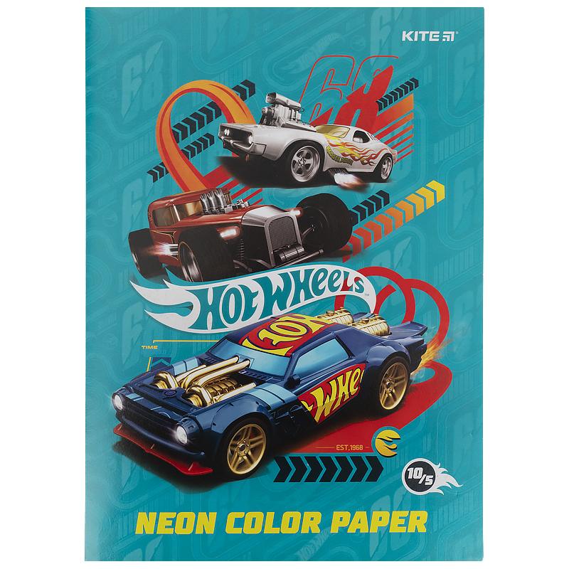 Бумага цветная двухсторонняя КІТЕ Hot Wheels А4, 10 листов, 5 цветов