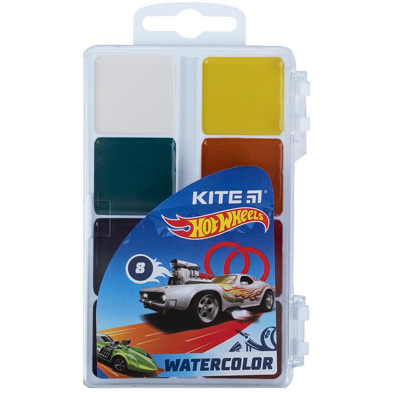 Краски акварельные KITE Hot Wheels без кисти, 8 цветов
