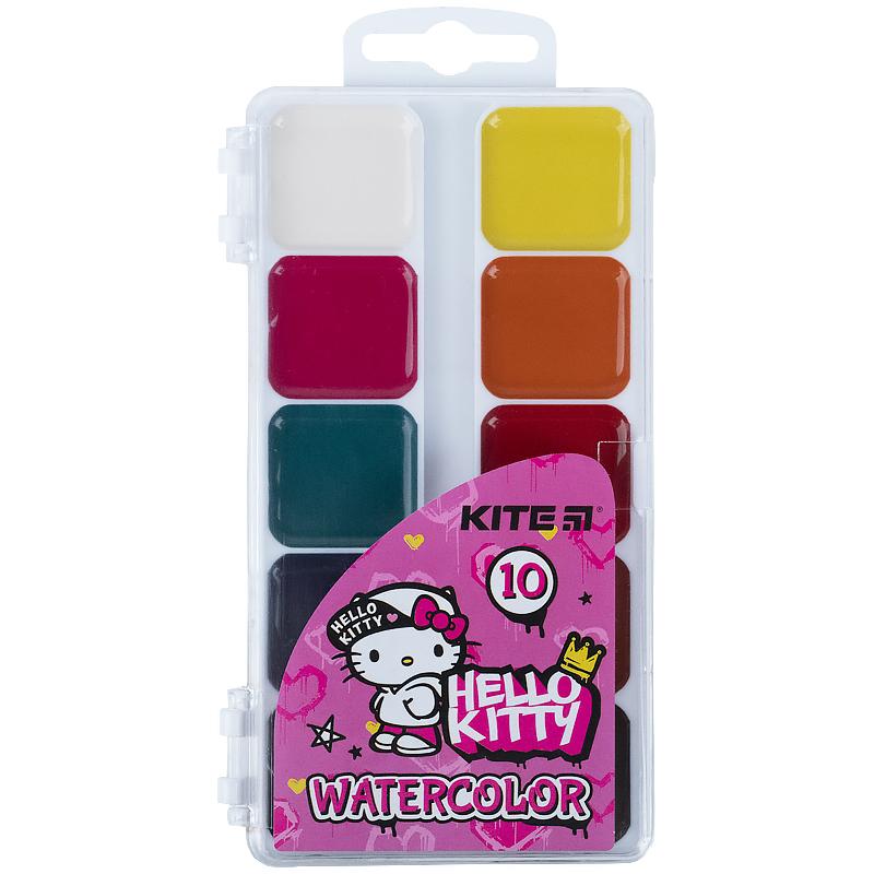 Краски акварельные KITE Hello Kitty без кисти, 10 цветов