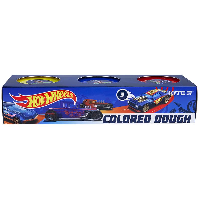 Тесто для лепкиKITE Hot Wheels, 3 цветов по 75 г