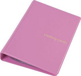 Визитница на кольцах Panta Plast, 120 визиток, PVC, розовая