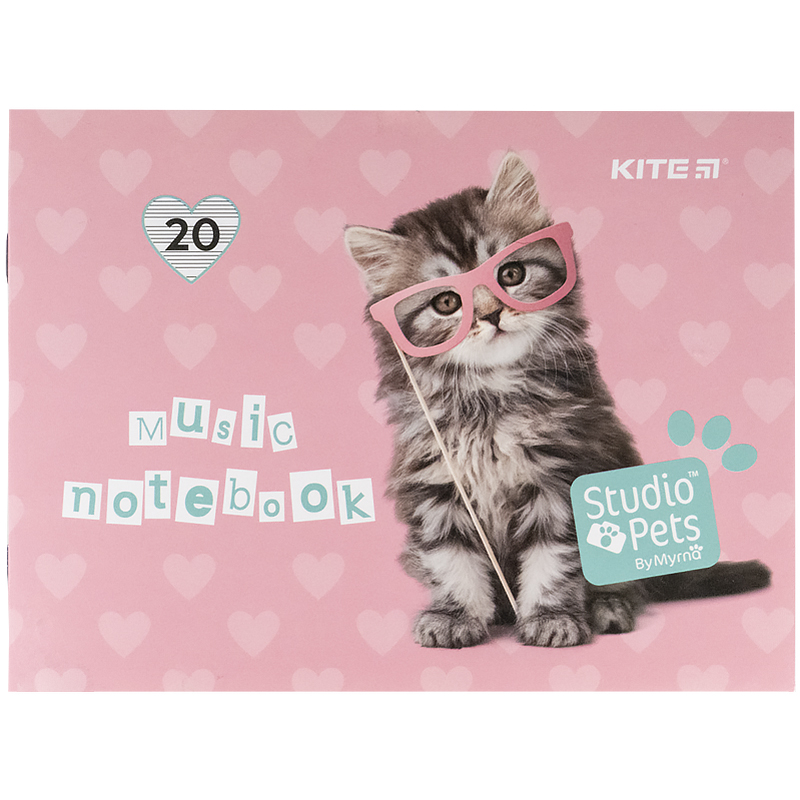Тетрадь для нот KITE Studio Pets А5, 20 листов