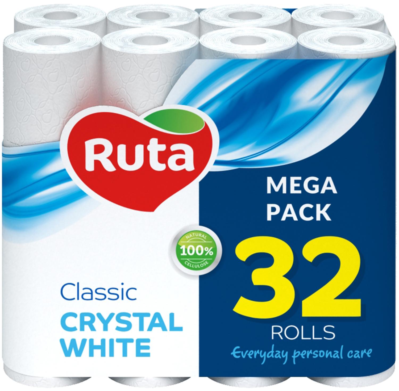 Бумага туалетная целлюлознаяRUTA Classic, 2 слоя, 4 рулона, белая