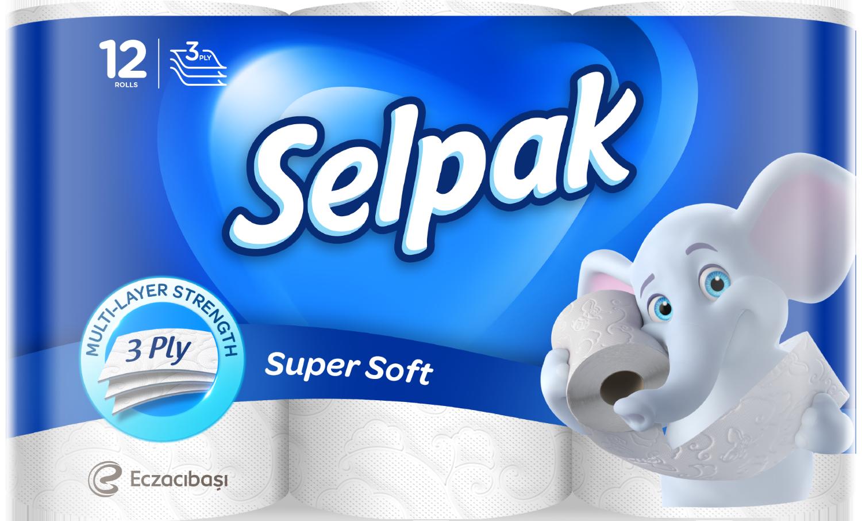 Бумага туалетная целлюлозная листовая Selpak,3 слоя,12 рулона, белая