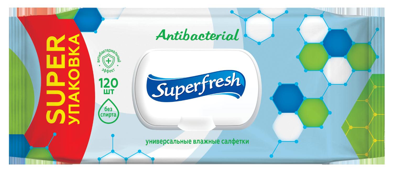 Салфетки влажные Superfresh Antibacterial с клапаном, 120 шт