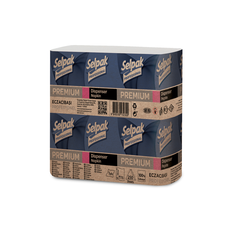 Салфетки бумажные SELPAK PRO Premium 26х24 см, белые, 250 шт
