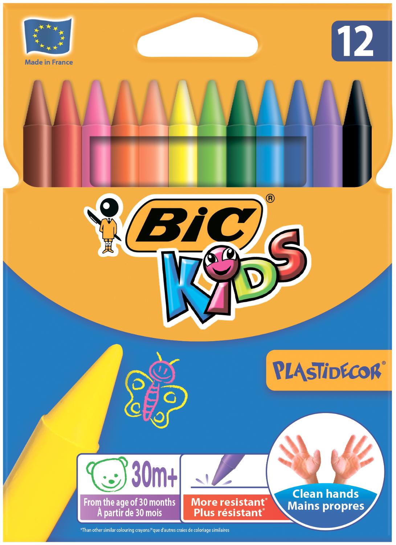 Мел цветной BIC Plastidecor, 12 шт