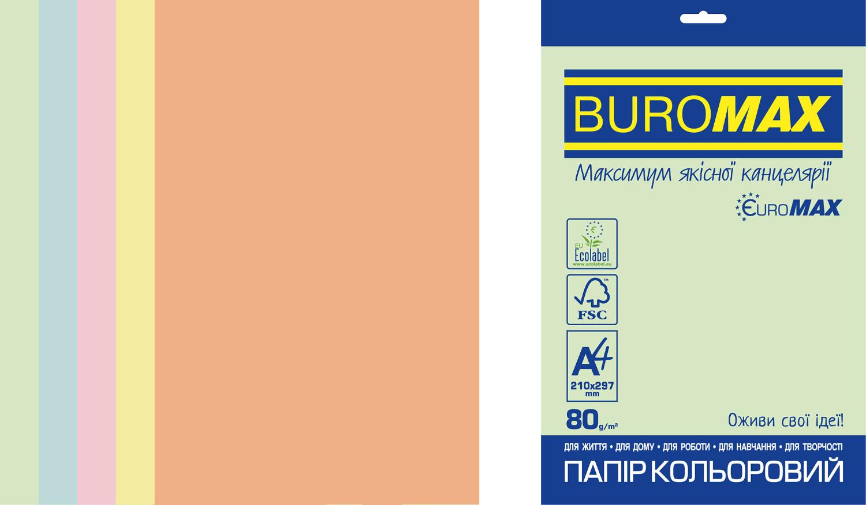 Бумага офисная цветная Buromax PASTEL EUROMAX А4, 80 г/м2, 250 листов,ассорти