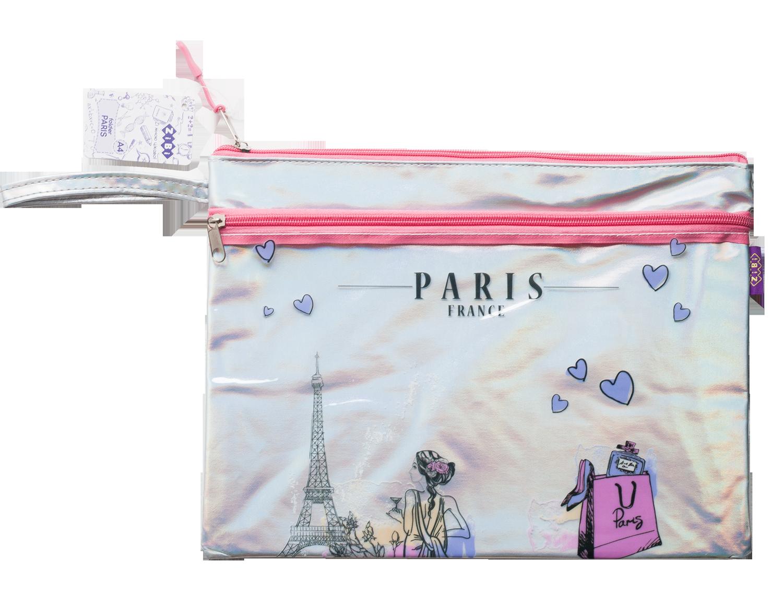Папка на молнии ZiBi PARIS А4, розовый и серебро