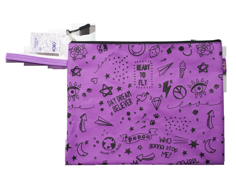 Папка на молнии ZiBi SCHOOL А4, фиолетовая