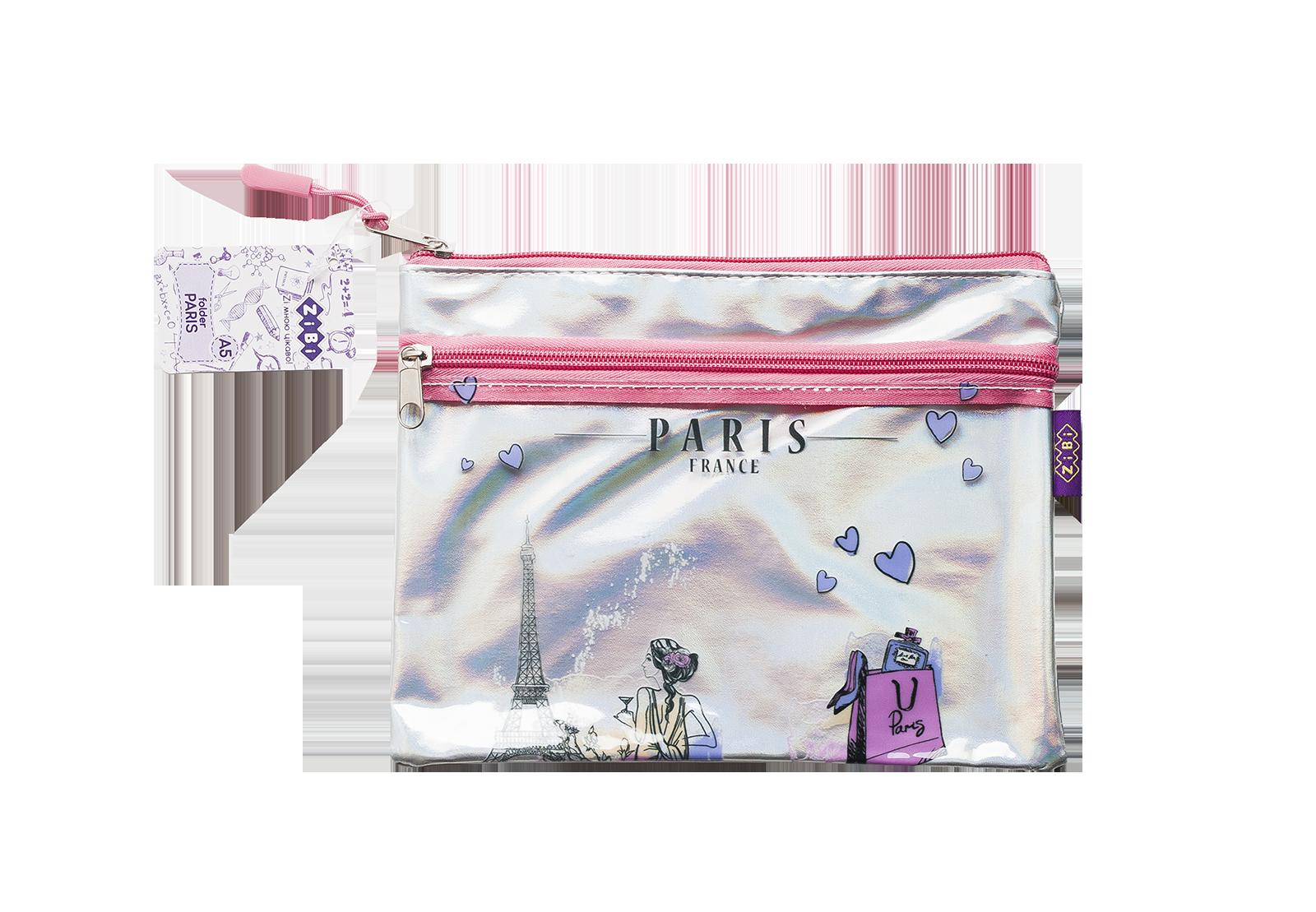 Папка на молнии ZiBi PARIS А5, розовый и серебро