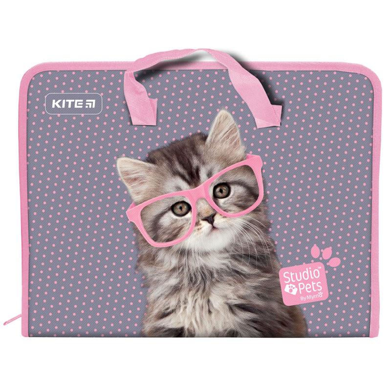 Пластиковый портфель KITE Studio Pets А4, 1 отделение