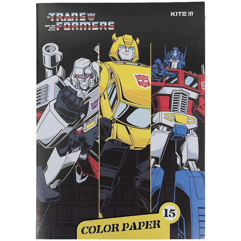 Бумага цветная двухсторонняя Kite Transformers А4, 15 листов, 15 цветов