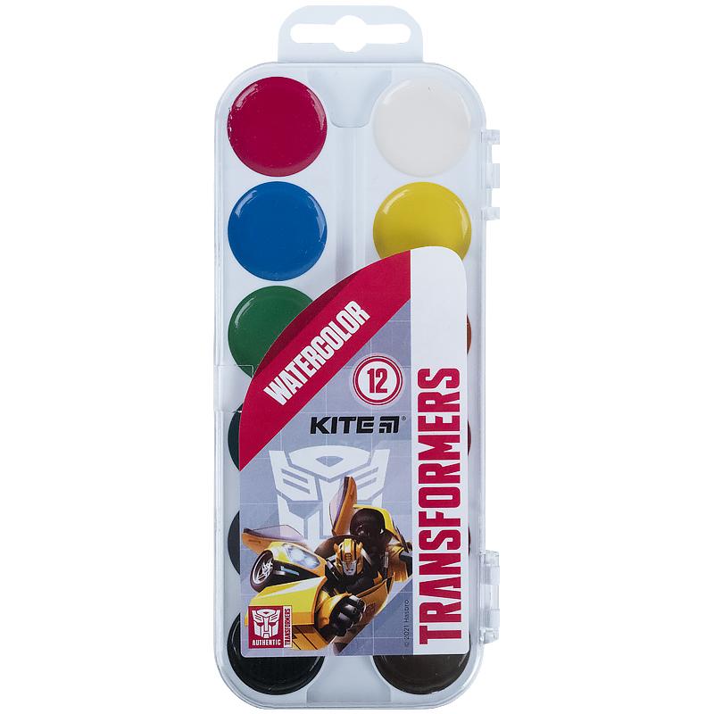 Краски акварельные Kite Transformers без кисти, 12 цветов