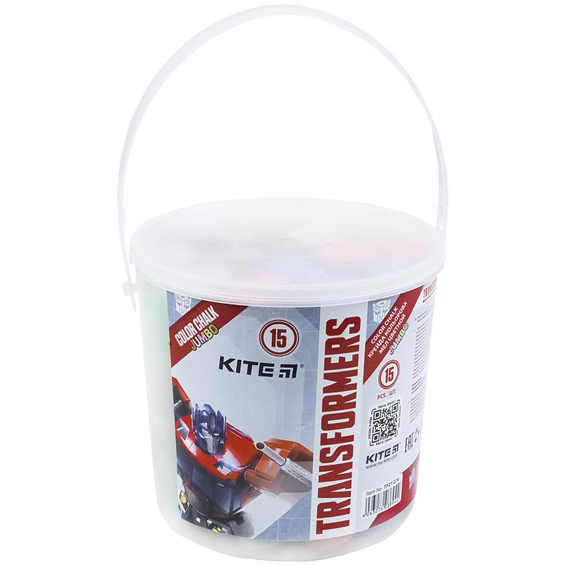 Мел цветной KITE Jumbo Transformers, 15 шт