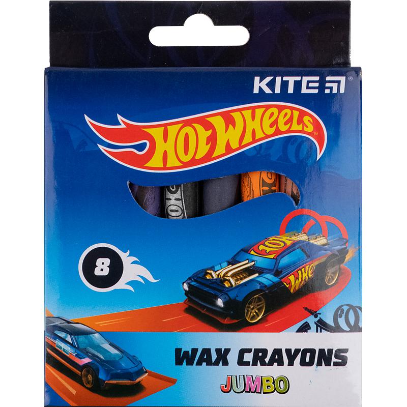 Карандаши-мелки цветные восковые KITE Hot Wheels Jumbo, 8 цветов
