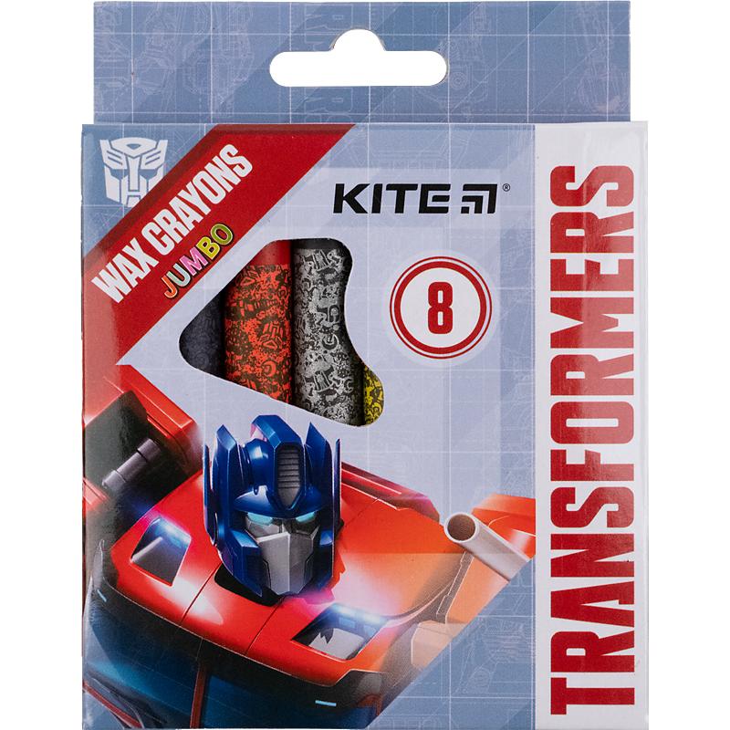 Карандаши-мелки цветные восковые KITE Transformers Jumbo, 8 цветов