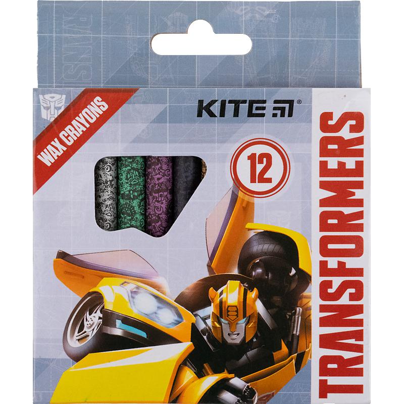 Карандаши-мелки цветные восковые KITE Transformers, 12 цветов