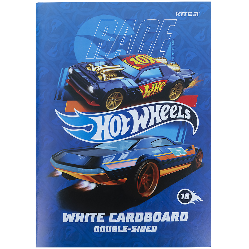 Картон белый KITE Hot Wheels А4, 10 листов