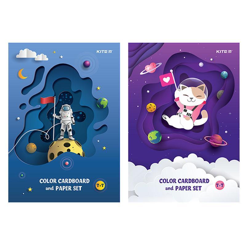 Набор цветного картона и бумаги КІТЕ А4, 7+7 листов, 7 цветов